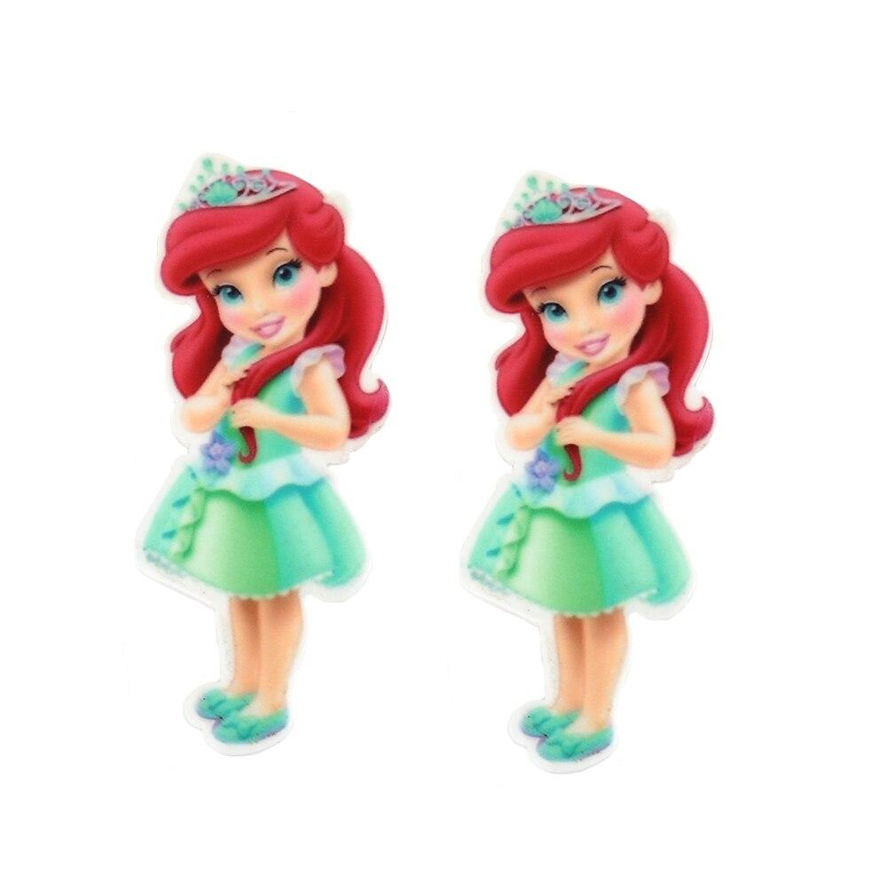 60*24mm 5Pcs Big Size Princess Girls Flatback Cabochons Planar Resin Craft DIY Little Kids Deco Embellishment