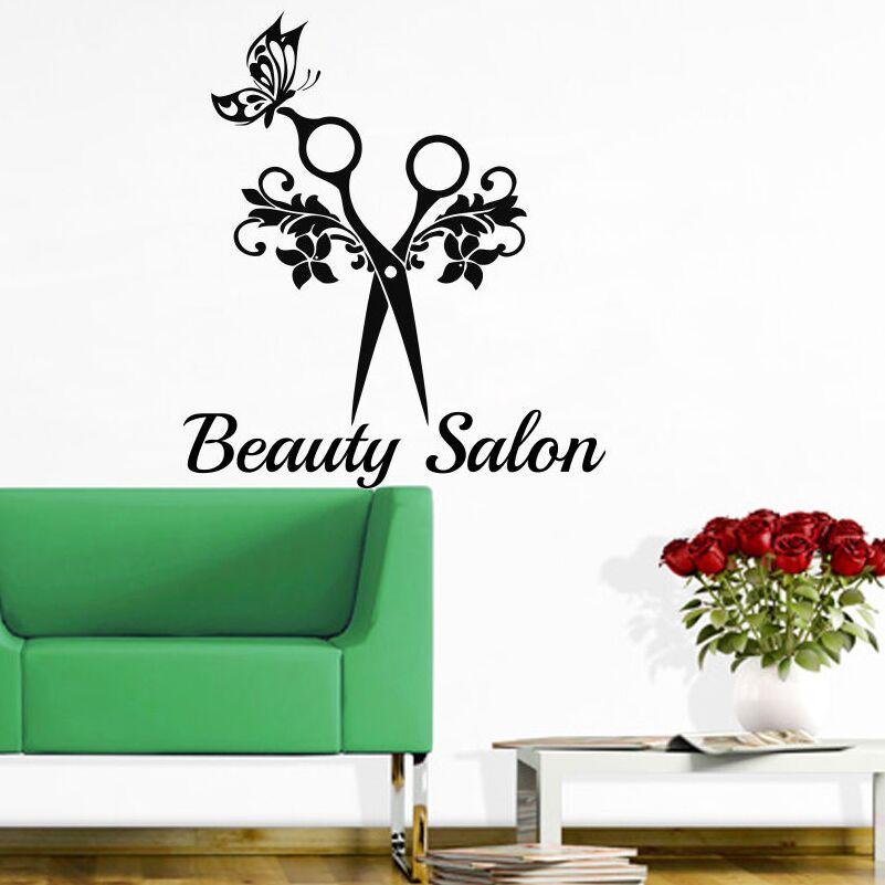 Beauty Salon Wall Decal Hair Style Scissors Art Sticker Studio Decor With Butterfly AY901