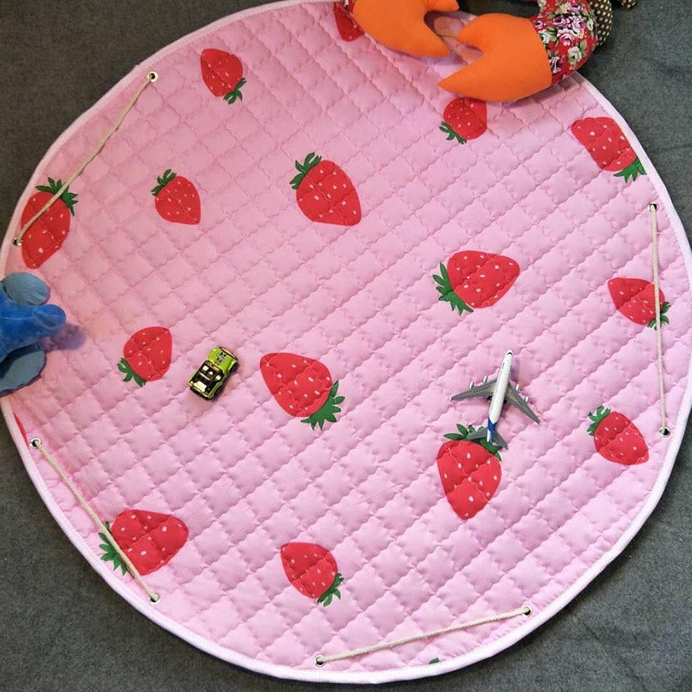 Cartoon Pattern Kids Game Play Mat Strawberry Round Crawling Blanket Storage Bag Toy Child Play Carpet Baby Gym Outdoor Pad
