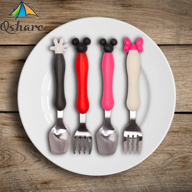 Qshare bebé de vajilla cuchara de postre para los niños tenedor cuchara de alimentación bebé Gadgets Feedkid niños cubiertos para niños