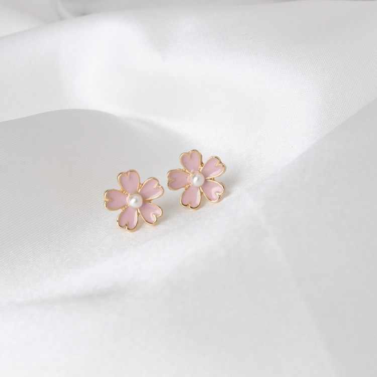 2020 Diskon Besar Pabrik Penjualan Langsung Gaya Jepang Seni Segar Segar Pink Series Mutiara Imitasi Enamel Cherry Wanita Anting-Anting