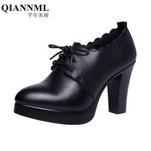 8d464d33d9b4 32-43 Deep Mouth Block Black Heel Office Shoes Women Pumps Platform 2018 Oxford  Footwear Lace up High Heels Red Wedding Shoes