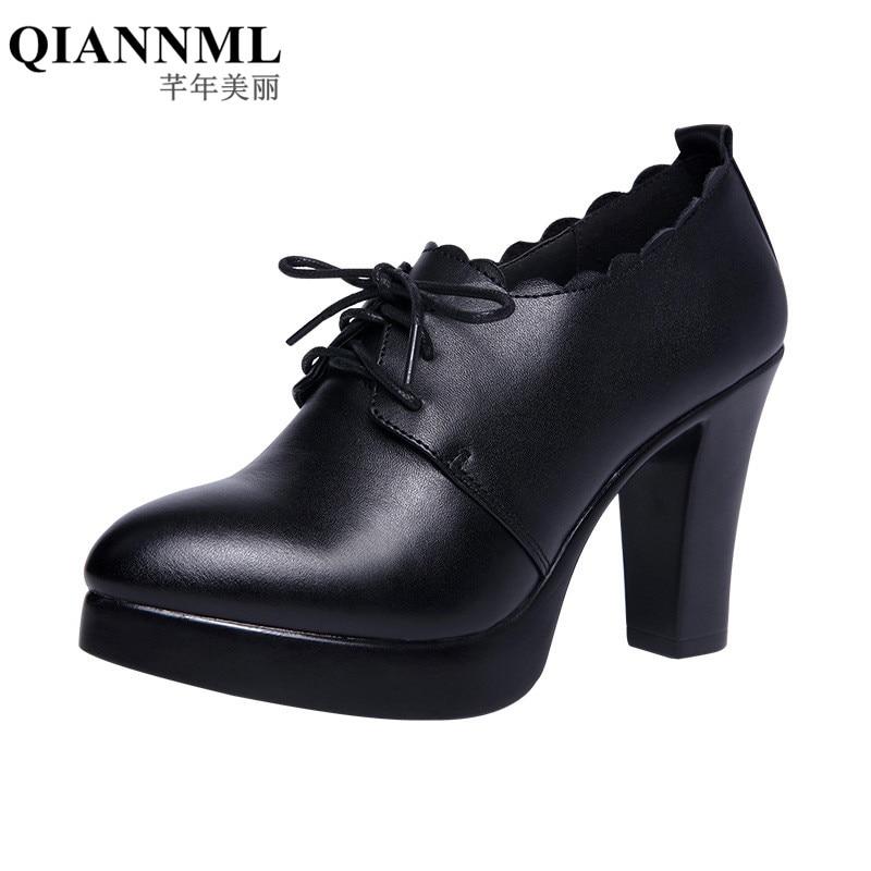 32-43 Deep Mouth Block Black Heel Office Shoes Women Pumps Platform 2019 Oxford Footwear Lace Up High Heels Red Wedding Shoes