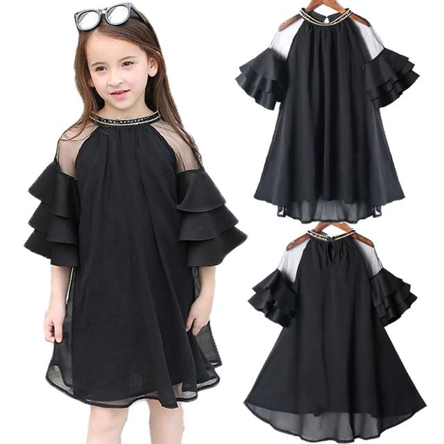 86de3179119bf US $16.62 29% OFF|Kids Girls Dress Summer Black Short sleeve Flare Sleeve  Chiffon Big Girls Dresses 6 8 10 12 14 16 year Teens Children Girl Dress-in  ...