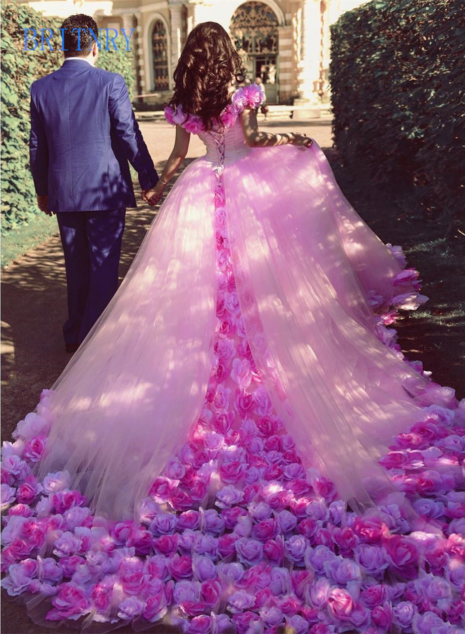 BRITNRY CJ0123001 Pink Wedding Dress Off Shoulder Tulle Flower Ball Gown Cathedral Train Luxury Dress