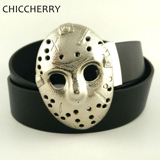 Novelty Friday the 13th Jason Voorhees Mask Men's Belt Buckles Metal Silver with PU Leather Belts Mens Accessories for Men Jeans