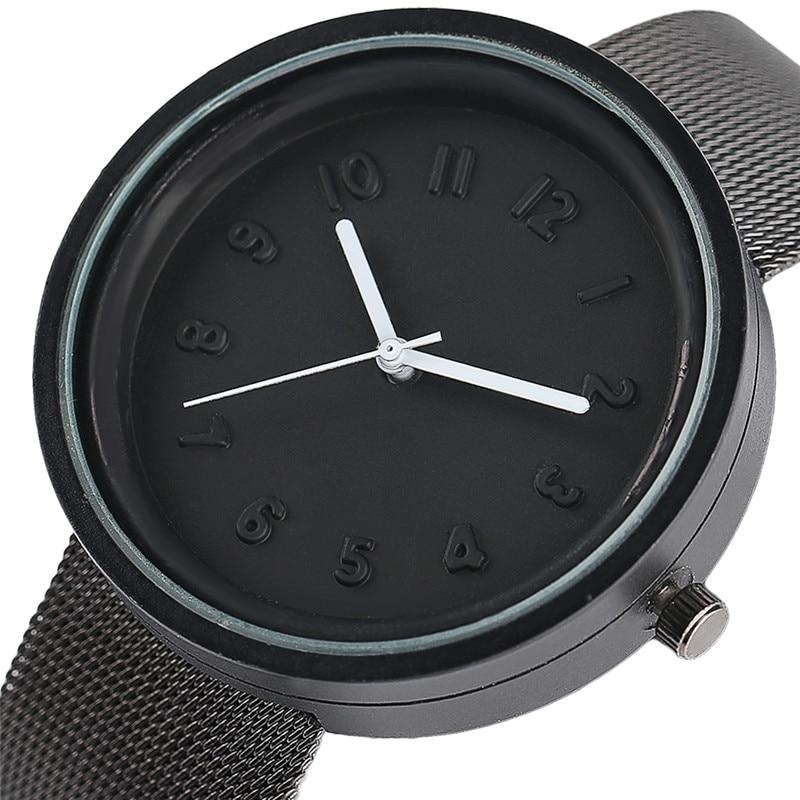 2017 Creative Watches Women Men Simple 3D Number Quartz Watch Minimalist Couple Wristwatch Sport Female Male Clock Metal Bands