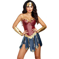 Wonder Woman Cosplay Costumes Adult Justice League Super Hero Christmas Halloween Sexy Women Fancy Dress Diana With foot cover