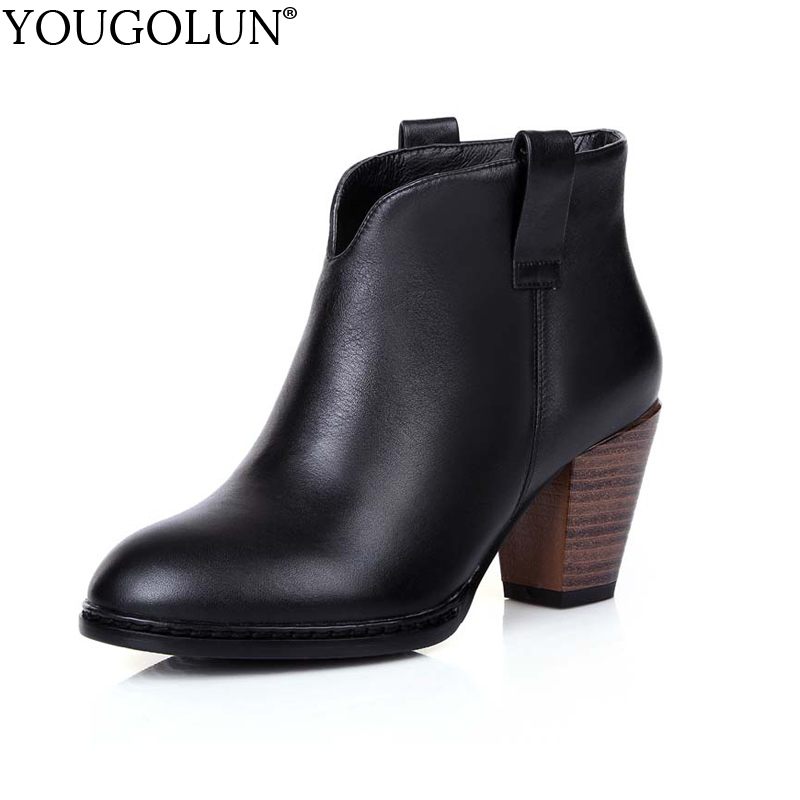 YOUGOLUN Women Ankle Boots Genuine Soft Cow Leather Spring Autumn Square Heel 7 cm High Heels Black Round toe Shoes #Z-051 yougolun women ankle boots 2018 autumn winter genuine leather thick heel 7 5 cm high heels black yellow round toe shoes y 233