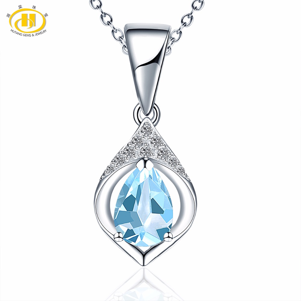 Hutang Gemstone Jewelry Natural Sky Blue Topaz Stone 925 Sterling Silver Pendant & Necklace For Women Gift Fine Jewelry 2018 18mm nylon watchband for asus zenwatch 2 women wi502q 1 45 45mm fabric watch band nato strap wrist bracelet multi color tool