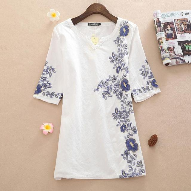 db7d5f6ccd Plus Size High Quality Summer Dress 2015 New Fashion Casual Short Sleeve  Broadcloth Linen Embroidery Women Dresses M~XXL NL13