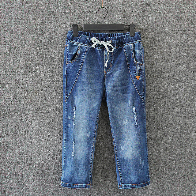 62ae68d86a6 Calf-length Jeans Women Brand New Plus Size 3 4 5 6 XL Casual Bleached  Ripped Denim Jeans Trousers Blue KK3052