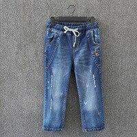 Wadenlangen Jeans Frauen Marke Neue Plus Größe 3 4 5 6 XL Casual Gebleichte Ripped Denim Jeans Hosen blau KK3052