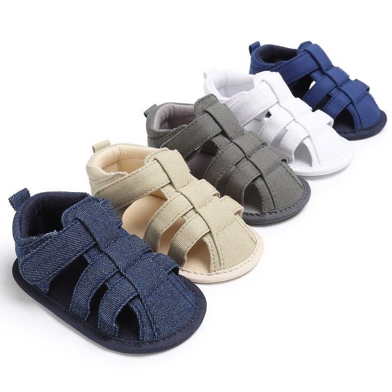 Romirus/новорожденных для маленьких мальчиков обувь для детей кроватки Bebe Обувь для малышей Классические модные однотонные мягкая подошва против скольжения Summer Infant обуви