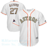 Men S Houston Astros Jose Altuve Jersey 27 Majestic White 2018 Gold Program Cool Base Stitched