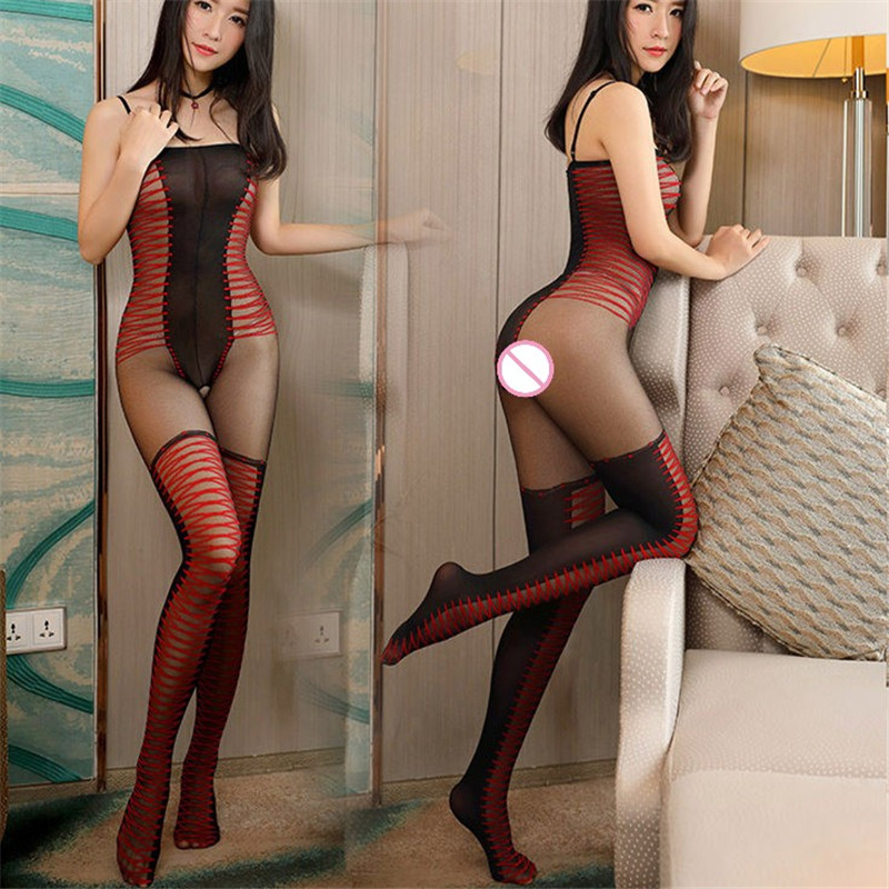 Black Red Striped Sexy Stockings High Waist Open Crotch Thin Tights Collant For Women Sexy Erotic Lingerie Hot Sexy Pantyhose