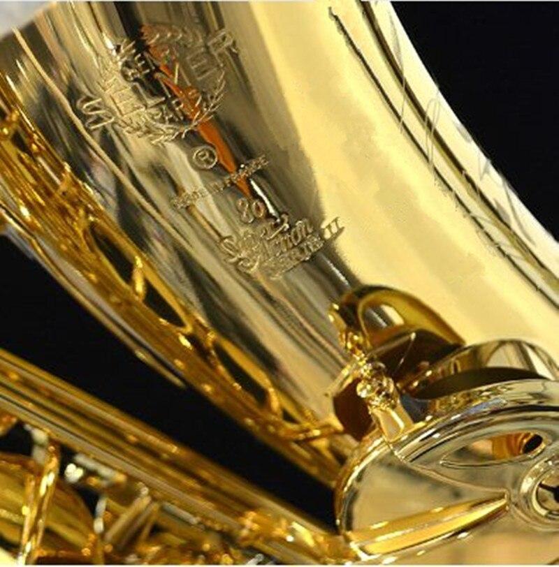 Saxophone France Henri Selmer Alto Saxophone 802 Instrument de musique Sax Or Courbe Saxfone Embouchure Électrophorèse Or