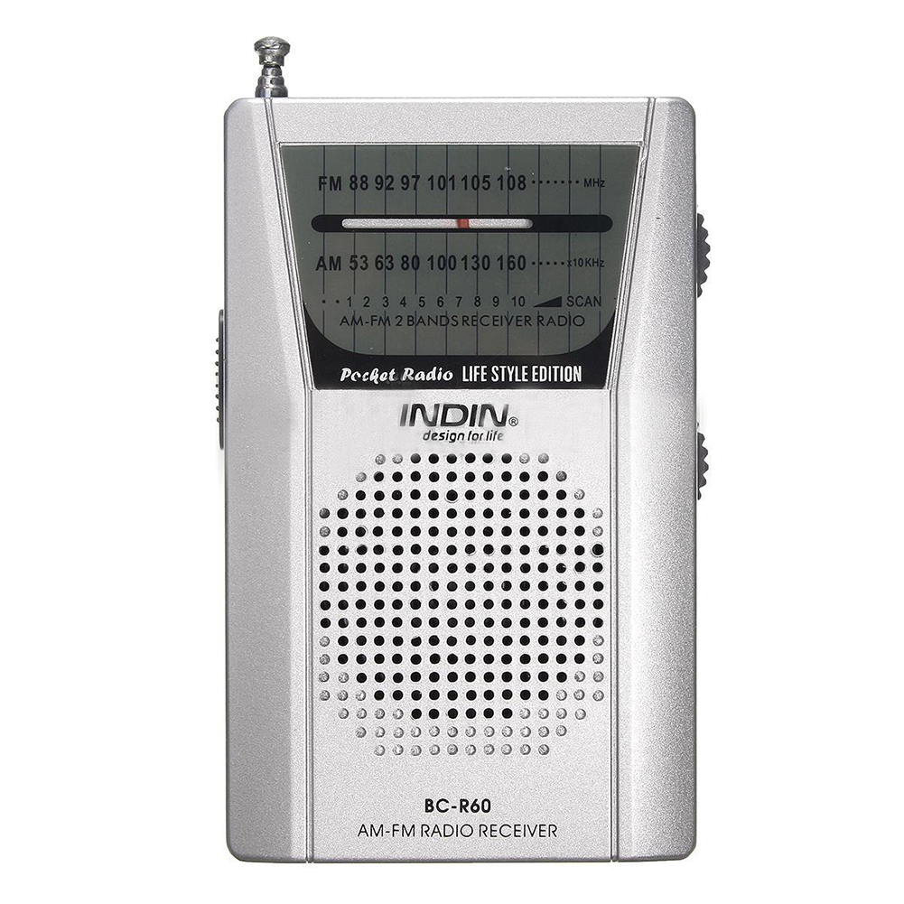 INDIN Pocket Telescopic Antenna Mini AM/FM 2-Band Radio World Receiver with Speaker Silver