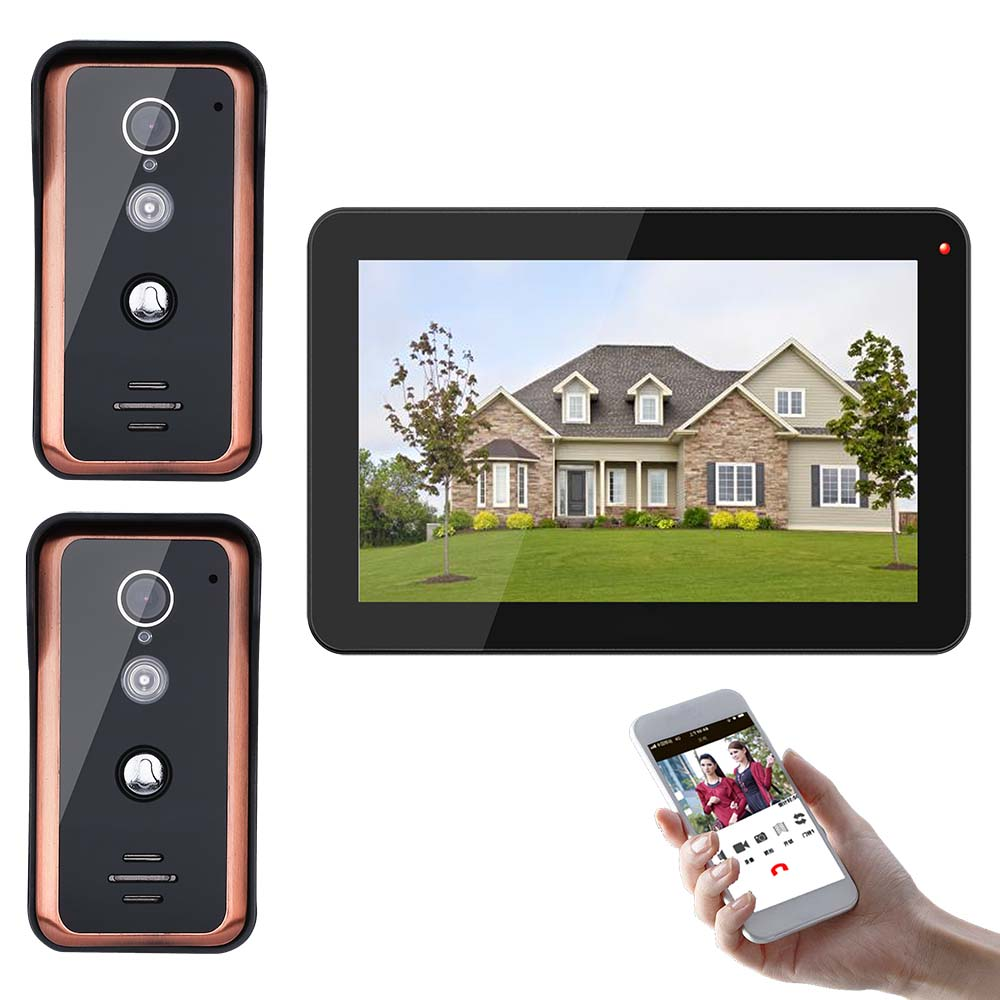 9 Inch Wireless Wifi  IP 720P Home Video Door Phone Doorbell Intercom Entry System With 2 X 1000TVL Wired IR-CUT Camera