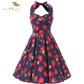 SISHION Floral Print Women Summer Dresses 60s 50s Vintage Halter Housewife Casual Beach vestido de festa Plus Size Dress VD0105