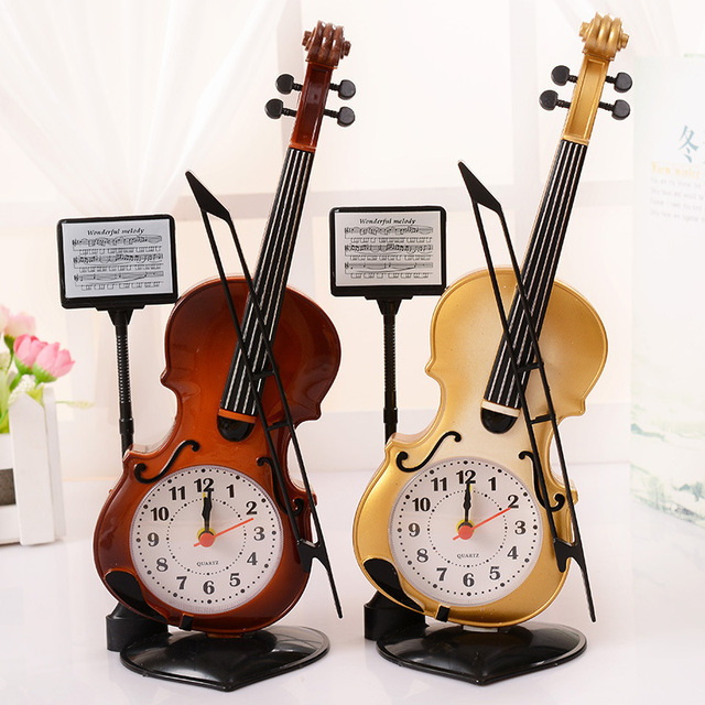 1pcs Violin Plastic Alarm Clock For Home Office Desktop Bedroom Bedside Student Friend Birthday Party Gift Decoration