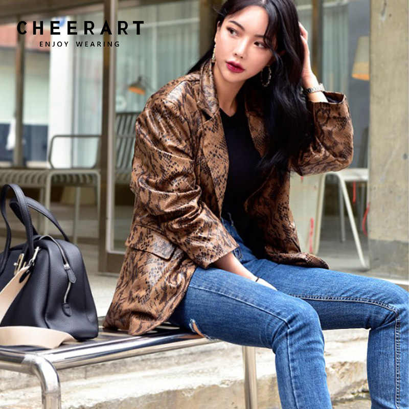 Cheerart Snake Print Leather Blazers Women Leather Jacket And Coats Green Brown Ladies Korean Snake Skin Blazer Femme