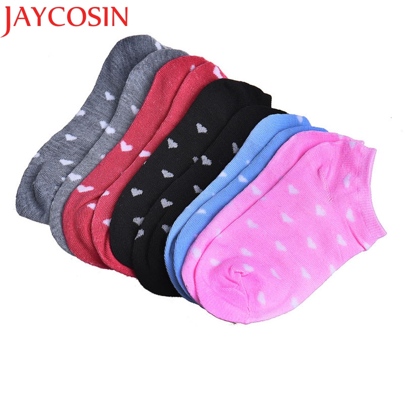 JAYCOSIN New Fashion 5 Pairs/lot Candy Color Women Short Ankle Boat Low Cut Cotton Socks with Heart Pattern Casual July24