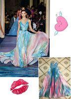 Высокое качество для знаменитостей Slip Красочные длинное платье Вечеринка благородное платье