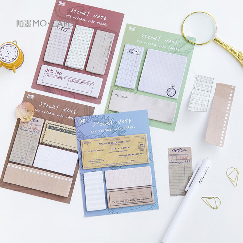AK01 60 Pages/pack Vintage Postage Memo Pads Sticky Notes Planner Writing Sticker Student Stationery Notepad
