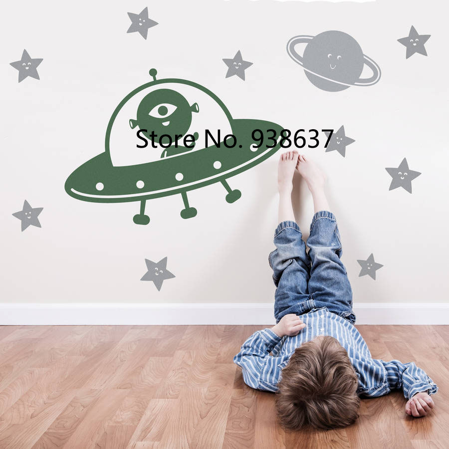 Spaceship and Happy Star Wall Stickers Home Decor Kids Room Play Room Creative Decoration Vinyl Wall Decals Art Mural ZB412