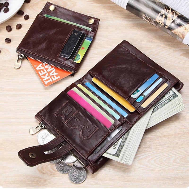 تتفاعل 100% جلد أصلي للرجال محفظة محفظة نسائية للعملات المعدنية الصغيرة حامل بطاقة صغيرة سلسلة محفظة Portomonee الذكور Walet الجيب