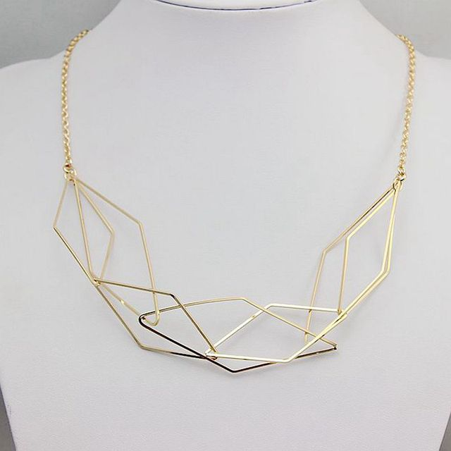 2016 wholesale jewelry factory direct sales of high-end women necklace copper geometry