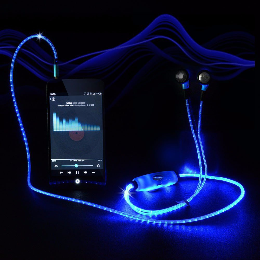 DOITOP LED Light Flashing Pulse Glow Sport Earpiece 3.5mm Glowing Cable Headset with Micr Luminous Earphone Earpiece O5
