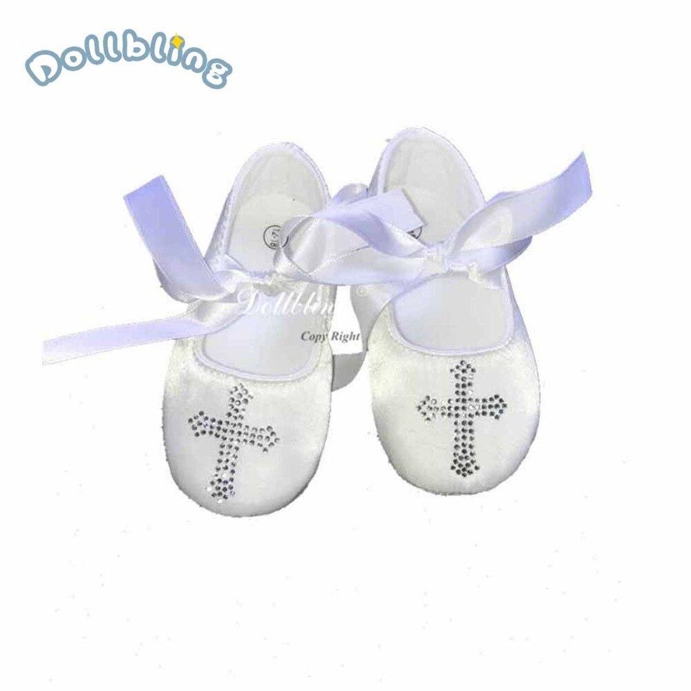 Dollbling Desginer Keepsake Crtsral Hot Fix DMC Bling Crucifix Christening  Baptism Satin Ballerina Etsy Baby Shoes 01ce94056b8d