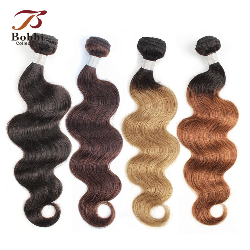Bobbi Collection 1 Bundle Color #2 #4 Dark Brown Indian Hair Weave Bundle 1B 27 Ombre Honey Blonde Body Wave Non Remy Human Hair