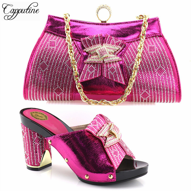 Capputine Hot Sale Italian Rhinestone Shoes With Matching Bags For Party High Quality African Style Woman Shoes And Bags Set capputine new arrival fashion shoes and bag set high quality italian style woman high heels shoes and bags set for wedding party
