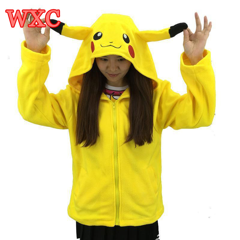Kigurui Pikachu mikiny Cosplay Unisex Roztomilé Anime s ušima Bunda Zip Hoody Coat Casual Kostým WXC