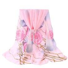 KANCOOLD зимние женские шелковые шифоновые шарфы в палестинском стиле шелковые женские с цветочным принтом длинные мягкие накидки шаль вуаль S10 SE27