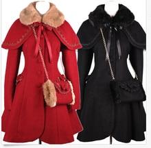 Winter Gothic Lolita Wool Coat Christmas Costume S-XL Coat+Shawl+Handwarmers Cosplay NEW