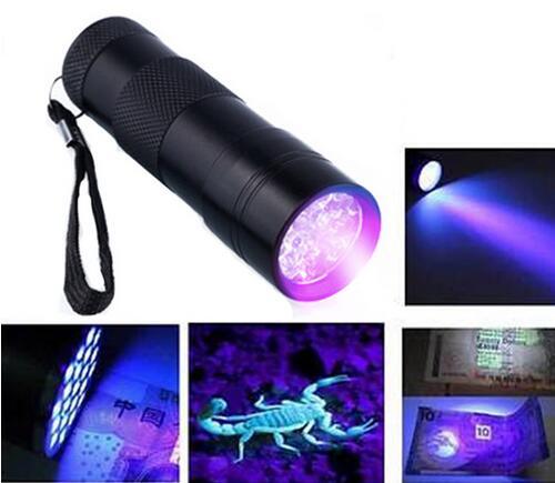 Tactical Mini Aluminum Portable UV Flashlight Violet Light 9 LED UV Torch Light Lamp Flashlight Outdoor Camping Useful Tools