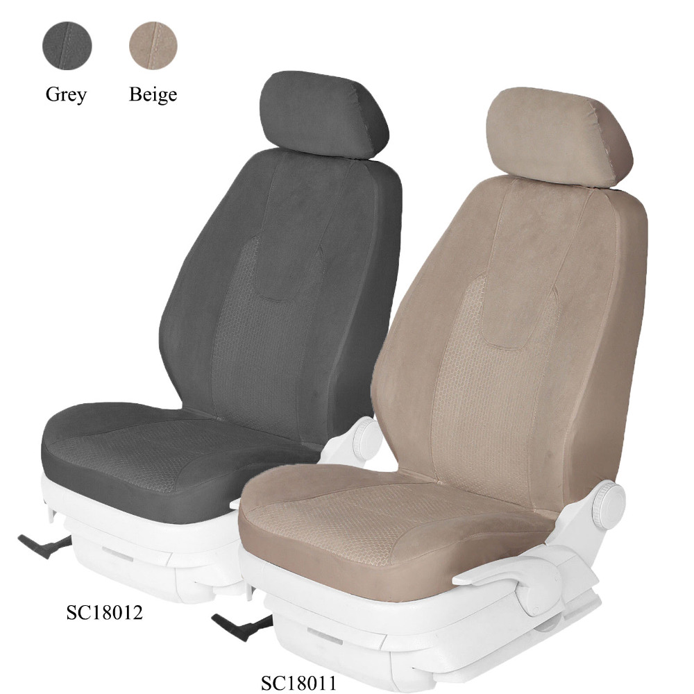 2PCS Front Seat Only High Back Airbag Compatible PIC AUTO Truck Seat Covers Black Oxford with Woven Fabric