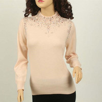 specials large size 100%goat cashmere women's basics sweater pullover half high collar diamond sequins S 5XL