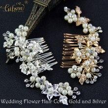 2017 Wedding Hair Flower Comb Bridal Hair comb Gold Leaf Hair Comb or Silver Flower Wedding Hair accessories