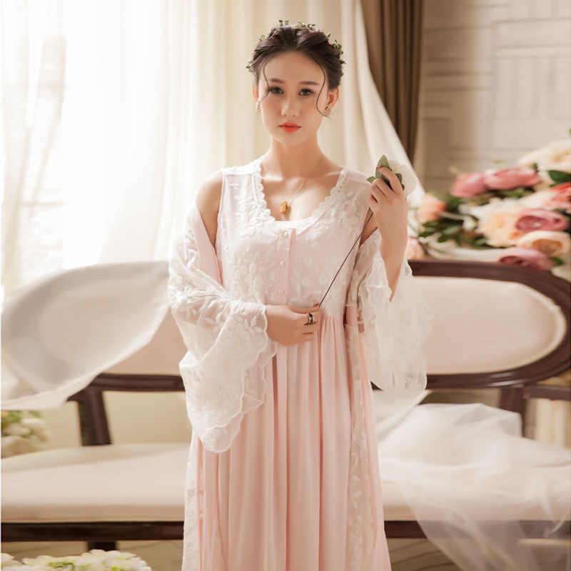 4fd4a3652f Spring Women Two-piece Nightgowns Ladies Long-sleeved Nightdress Royal  Vintage Sweet Princess Sleepwear