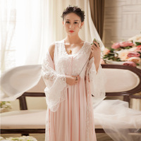 Spring Women Two piece Nightgowns Ladies Long sleeved Nightdress Royal Vintage Sweet Princess Sleepwear Lace Embroidery Dress