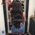 Llena Del Cordón Del Pelo Humano Pelucas Para Las Mujeres Negras del Pelo Virginal Peruano la Onda del cuerpo 8A Grado Sin Cola Peluca Del Frente Del Cordón Humano Con El Bebé pelo