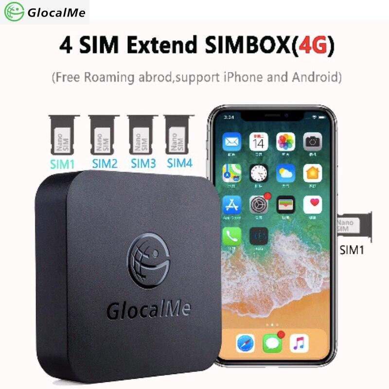 GlocalMe Multi 4 SIM Double Veille Pas Itinérance 4G SIMBOX SIM À Distance Routeur, Pas Besoin de Transporter, travail avec WiFi/Données à Faire des Appels et SMS