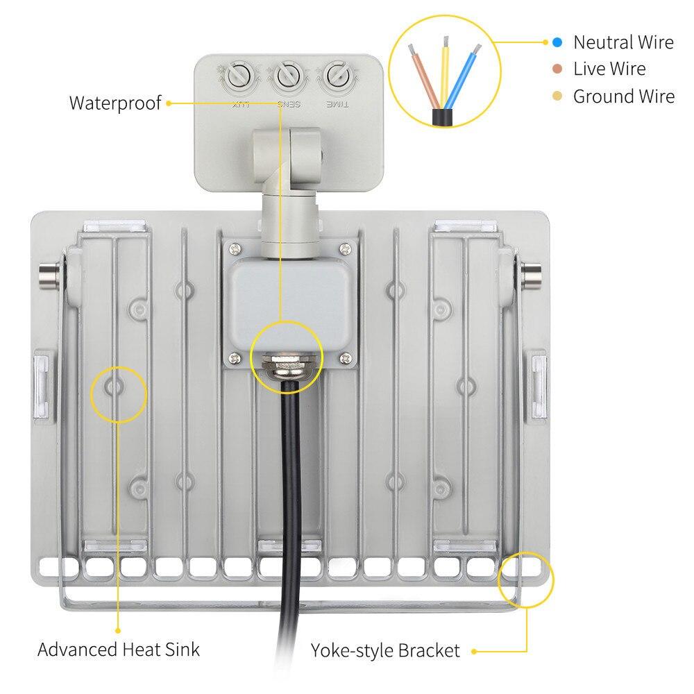 Led 50w 110v Wiring Diagram Smart Diagrams Motion Detection Flood Light 1pcs Ultrathin Sensor 220v Rh Aliexpress Com 120v