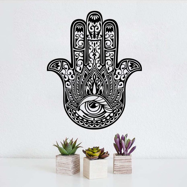 DCTOP Hamsa Hand Wall Stickers Indian Buddha Sticker For Living Room Vinyl Removable Wallpaper Home Decor