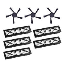 5Pcs Ultra Performance Filters & 3Pcs 5-Arms Upgraded Side Brushes Kit Replacement For Neato Connected D5 D6 D7 Wi-Fi Enabled